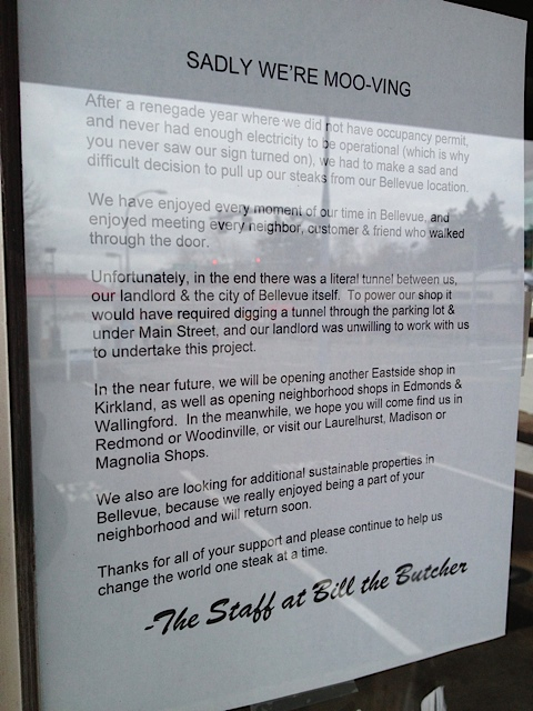Bill the Butcher in Bellevue CLoses